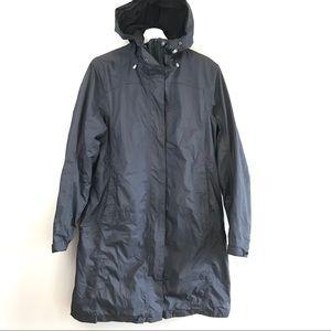 LLBean black nylon fleece winter hood long coat M